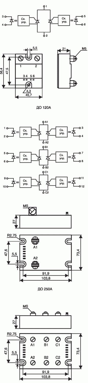 Рис. 5. Тиристорно-тиристорные модули со встречно-параллельными тиристорами с оптронной развязкой