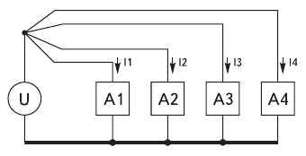 Рис. 12. Теоретически правильная схема разделения контуров питающих токов