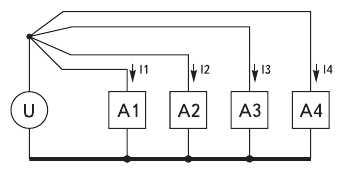 Рис. 13. Схема разделения контуров питающих токов с учетом реального ненулевого импеданса 'земляной' шины