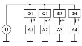 Рис. 16. Пример топологии разводки цепей питания с фильтрами