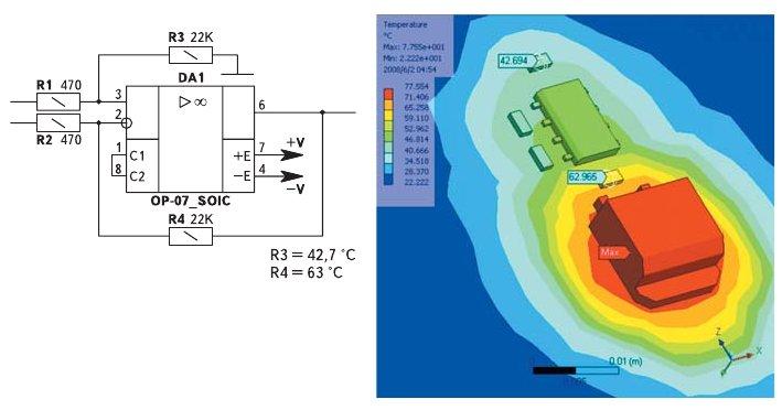 Рис. 9. Компоновка, приводящая к нарушению работы прецизионной схемы из за температурного градиента на печатной плате