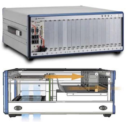 Внешний вид шасси PXIS-2719 и схема охлаждения модулей внутри него