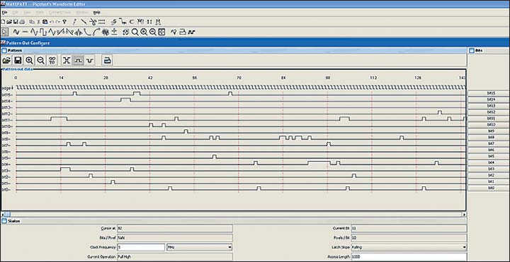 Рис. 9. Пример изображения при конструировании цифровой шины в оболочке ПО Wavepatt