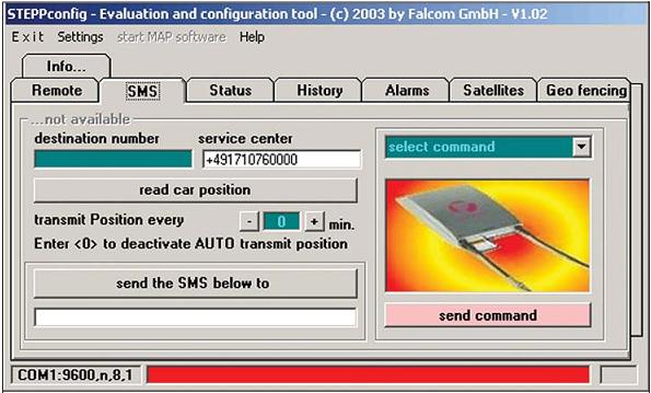 Рис. 3. Falcom STEPPCOMMUNICATOR — программа настройки терминала STEPP