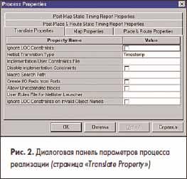 Диалоговая панель параметров процесса реализации (страница «Translate Property»)