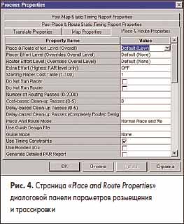 Страница «Place and Route Properties» диалоговой панели параметров размещения и трассировки