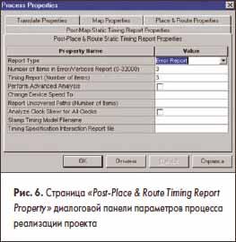 Страница «Post-Place & Route Timing Report Property» диалоговой панели параметров процесса реализации проекта