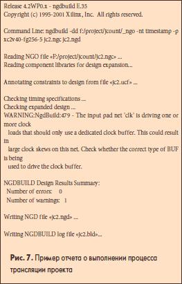 Пример отчета о выполнении процесса трансляции проекта