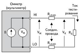 Двухточечная схема измерения, учитывающая сопротивления проводящих проводов