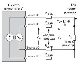Четырехточечная схема для измерения малых сопротивлений