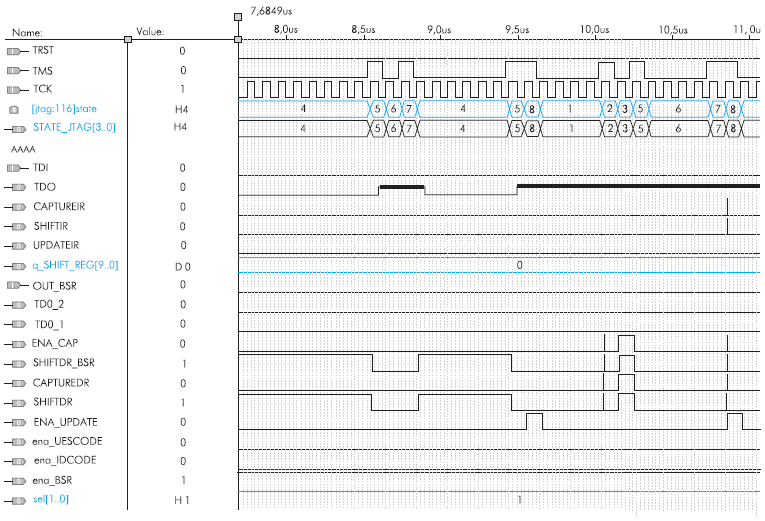 Тест на выполнение команды EXTEST. Фаза захвата и сдвига данных в BSRрегистре
