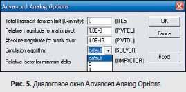 Диалоговое окно Advanced Analog Options