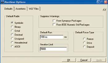 Задание опций моделирования в окне Runtime Options