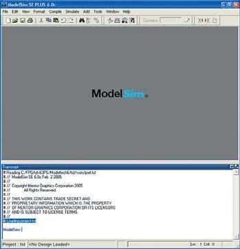 Основное окно системы моделирования ModelSim SE