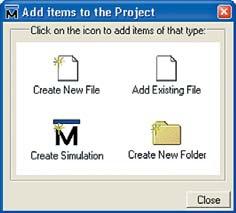 Добавление файлов в проект в окне Add Items to the Project