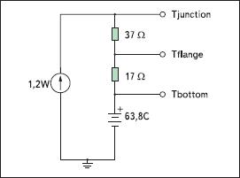 Усилитель HMC414MS8G на плате FR4, упрощенная тепловая модель