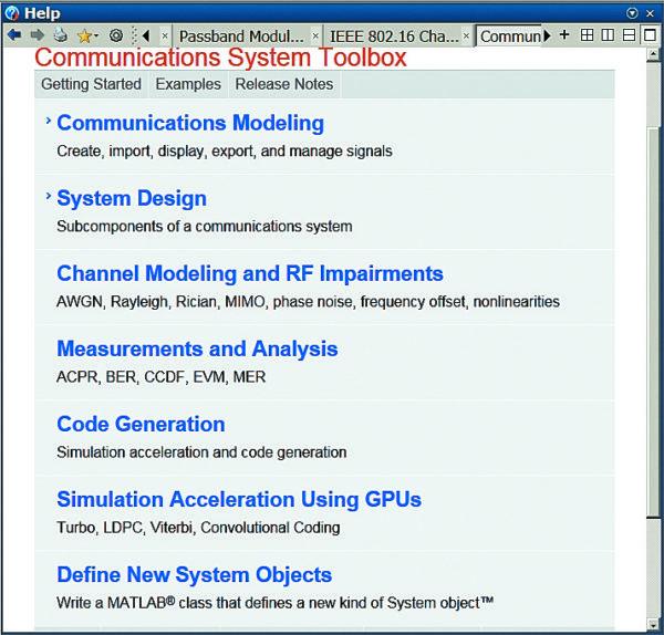 Разделы справки по пакету Communications System Toolbox