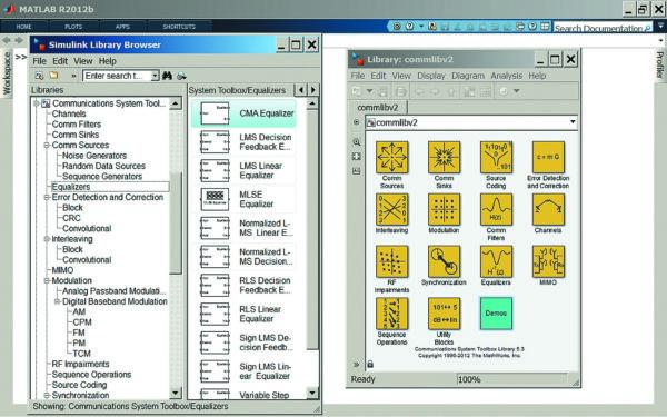 Окно браузера библиотек 8.0 с деревом библиотек пакета Communications System Toolbox и окно раздела библиотек 1 го уровня