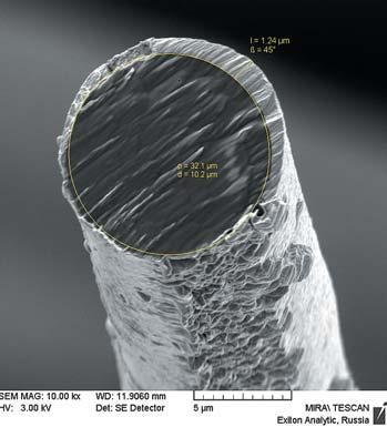 Рис. 6. SE-изображение среза арамидной нити с напыленной пленкой alpha-CH:(Ni) во вторичных электронах