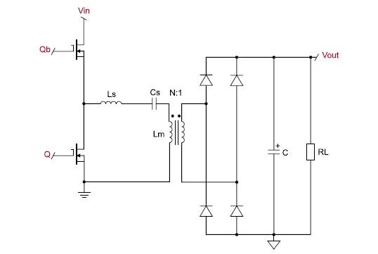 Cхема полумостового резонансного конвертора напряжения