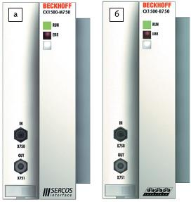 Рис. 4. а) интерфейсный master модуль CX1500-M750; б) интерфейсный slave модуль CX1500-B750