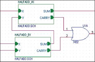 Рис. 18. Соединение иерархических блоков с помощью проводников