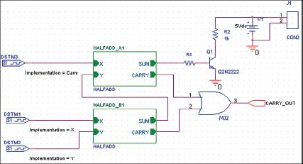 Рис. 20. Схема полного сумматора с выходным транзистором