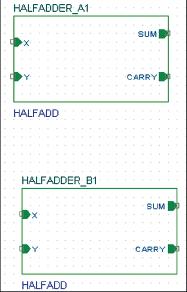 Рис. 23. Два иерархических блока, помещенные на странице схемы
