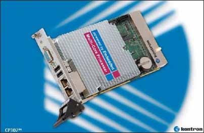Высокопроизводительный одноплатный компьютер Kontron CP307-64, реализованный в конструктиве 3U CompactPCI и оснащенный двуядерным процессором Intel Core2 Duo T7400