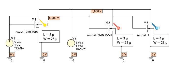 Рис. 1. Схема виртуального характериографа для расчета ВАХ n-МОПТ