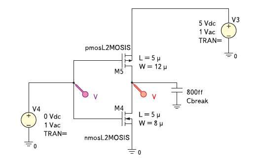 Рис. 5. Электрическая схема КМОП-инвертора на основе Spice моделей 2-го уровня (технологический процесс MOSIS/Orbit 2 мкм) для построения передаточных характеристик в режиме расчета по постоянному току