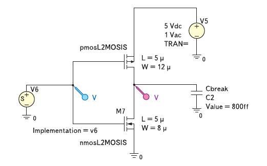 Рис. 7. Электрическая схема КМОП-инвертора на основе Spice-моделей 2-го уровня (технологический процесс MOSIS/Orbit 2 мкм) для исследования переходных процессов