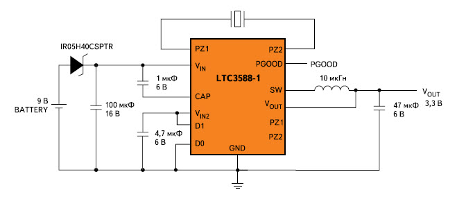 Схема включения LTC3588-1 с резервным батарейным питанием