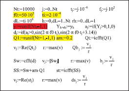 Программный код модели ФТ-сигнала и аддитивного белого шума