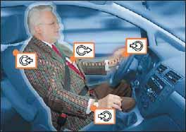 Контроль состояния водителя и идентификация (стрелками указаны зоны сенсоров приемника)