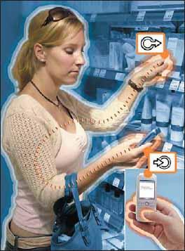 Реализация сценария «говорящий товар». Информация о свойствах выбранного клиентом товара транслируется на дисплей мобильного телефона через персональную сеть Skinplex