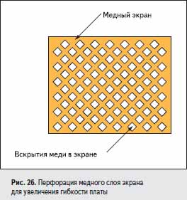 Перфорация медного слоя экрана для увеличения гибкости платы