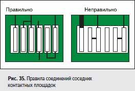 Правила соединений соседних контактных площадок