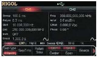 Экран дисплея при задании режима качания частоты