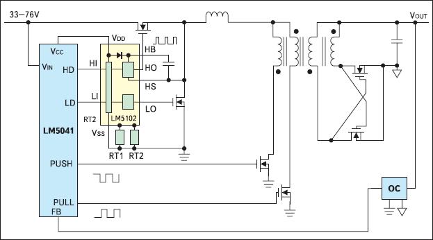 Рис. 1. Упрощенная типовая схема построения двухкаскадного импульсного преобразователя напряжения на базе ШИМ-контроллера LM5041