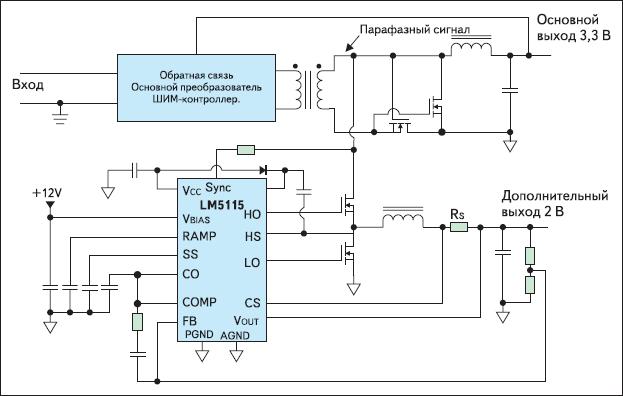 Рис. 2. Упрощенная типовая схема построения двухкаскадного импульсного преобразователя напряжения по топологии SSPR