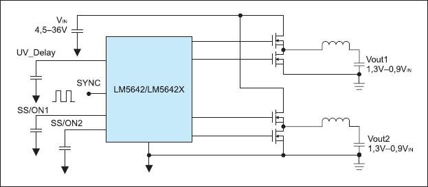 Рис. 3. Упрощенная схема включения ШИМ-контроллера LM5642