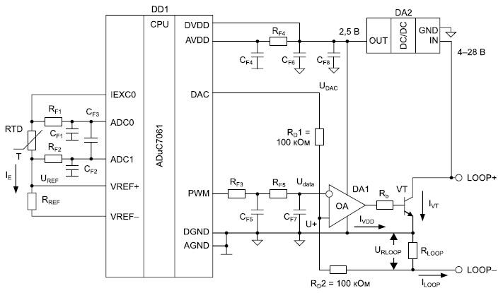 Схема контроля температуры с питанием по токовой петле