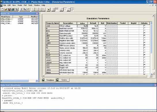 Диалоговые окна Simulation Parameters и Model Text