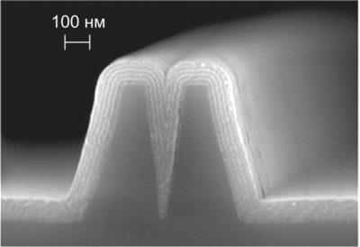 Чередующиеся ALD-пленки: слои Al2O3 толщиной 10 нм (более светлые) чередуются со слоями TiO2 толщиной 10 нм (более темные). (На фото видно, что тонкопленочные покрытия повторяют структуру исходной подложки)