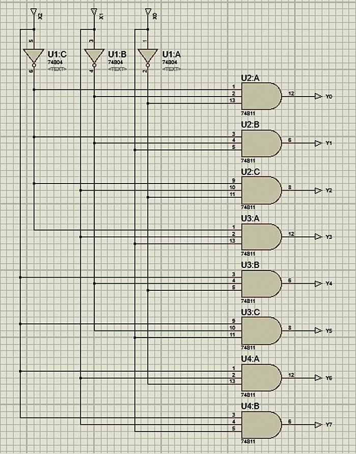 Схема трехвходового полного дешифратора на элементах НЕ и 3И