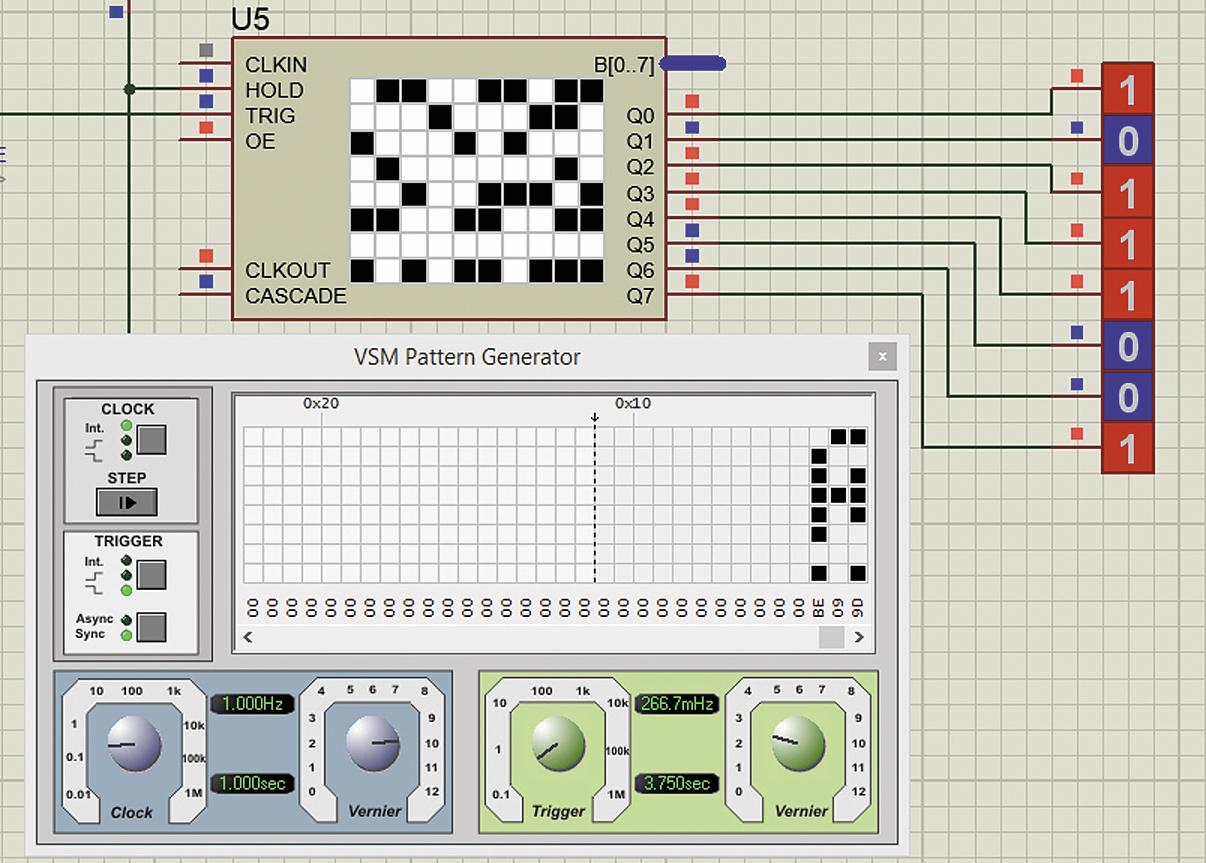 Соответствие комбинации сигналов на выходе цифрового генератора шаблона и комбинации пустых и закрашенных ячеек последнего столбца таблицы лицевой панели прибора