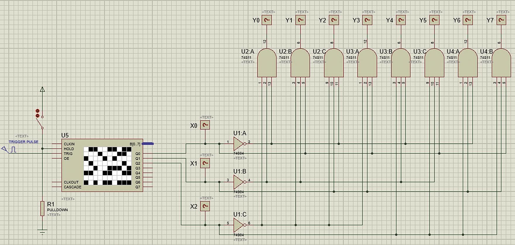 Подключение цифрового генератора шаблона к схеме дешифратора трехразрядного двоичного кода