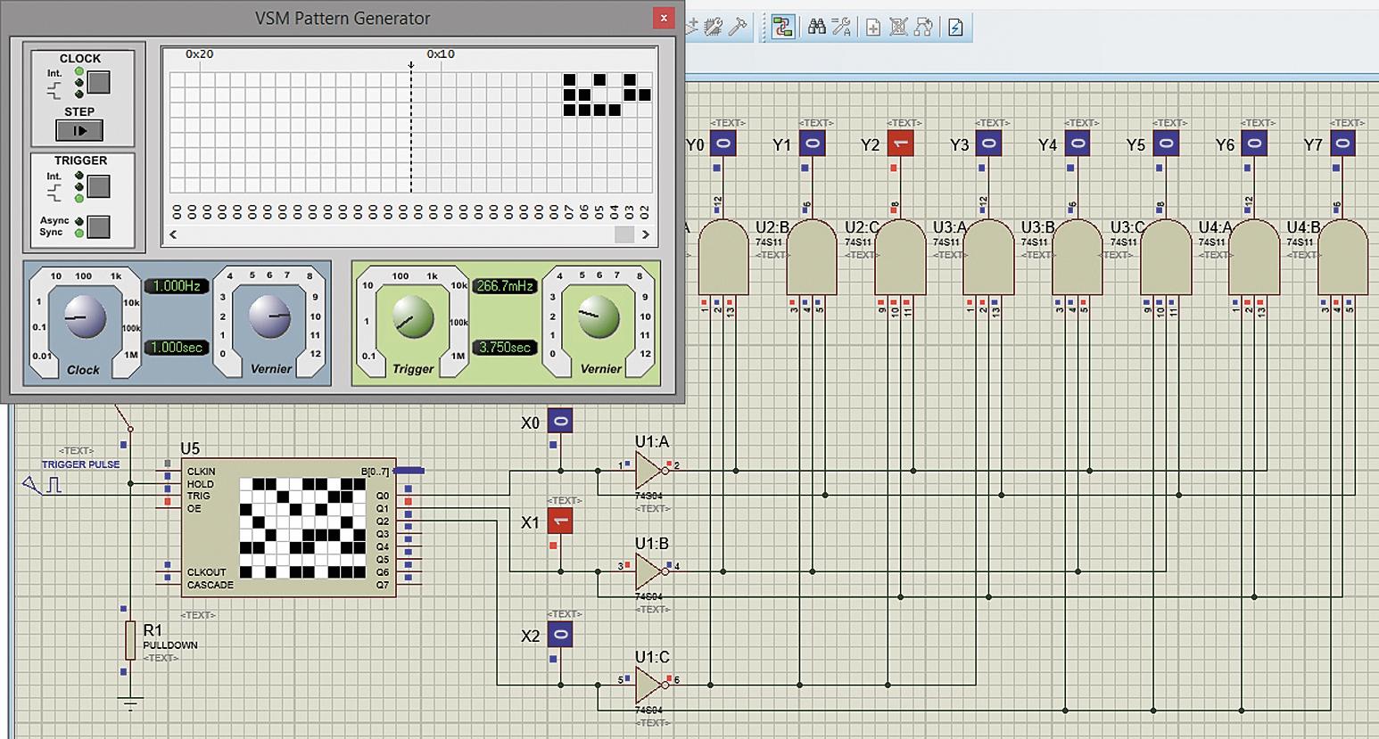 Проверка работы спроектированного дешифратора трехразрядного двоичного кода с помощью цветных пробников логических уровней 0 и 1: а) коду 010 на входах дешифратора соответствует 1 на его выходе y2; б) коду 111 на входах дешифратора соответствует 1 на выходе y7