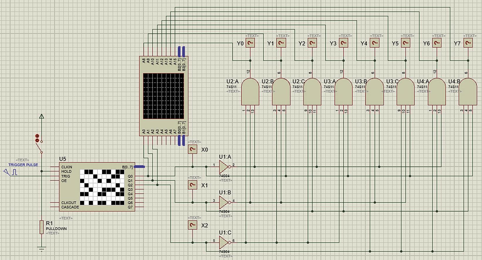 Подключение логического анализатора к схеме дешифратора трехразрядного двоичного кода